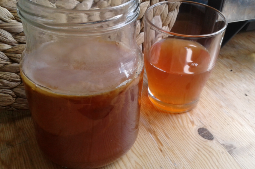 Jar of kombucha and a glass of poured kombucha